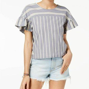 Lucky BRAND Grey Striped Ruffle Sleeve Blouse
